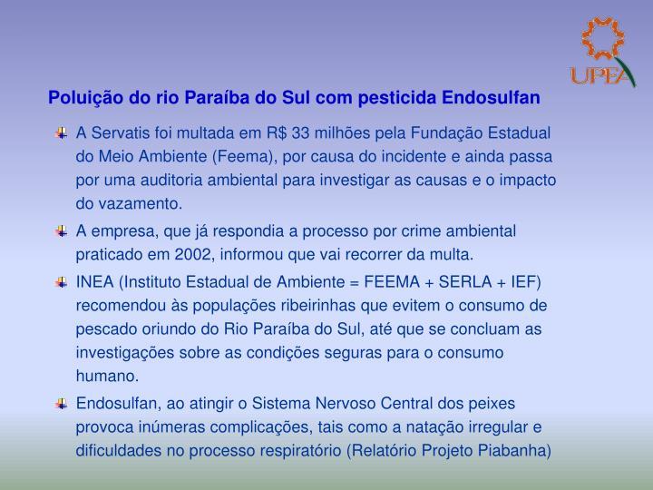 Poluição do rio Paraíba do Sul com pesticida Endosulfan