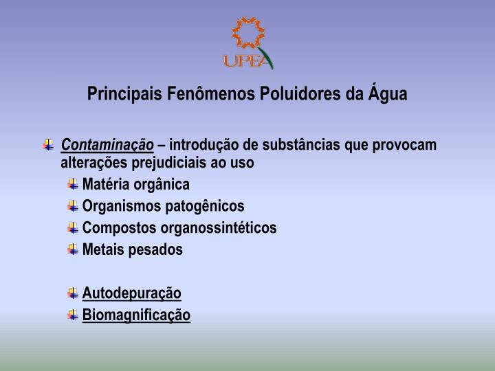 Principais Fenômenos Poluidores da Água