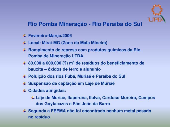 Rio Pomba Mineração - Rio Paraíba do Sul