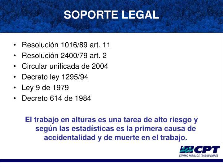 Resolución 1016/89 art. 11