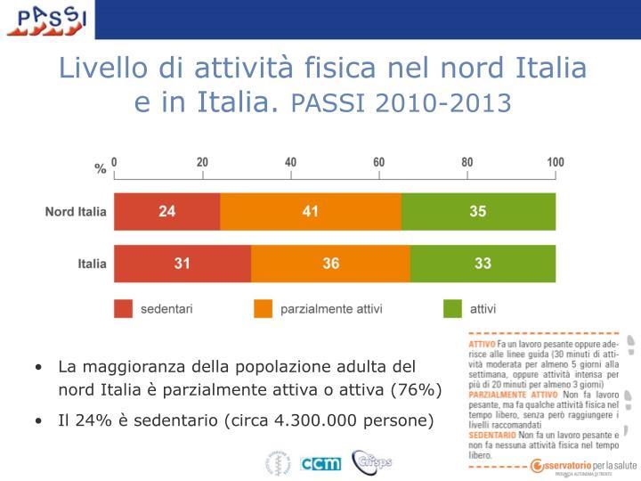 Livello di attività fisica nel nord Italia e in Italia.