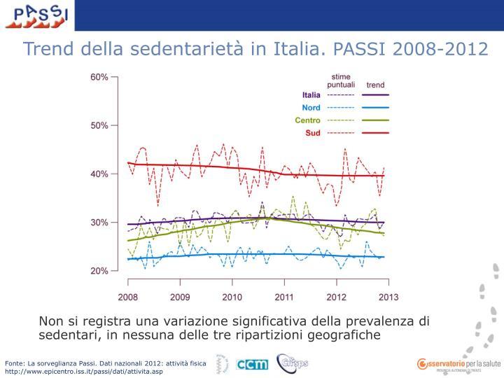 Trend della sedentarietà in Italia.