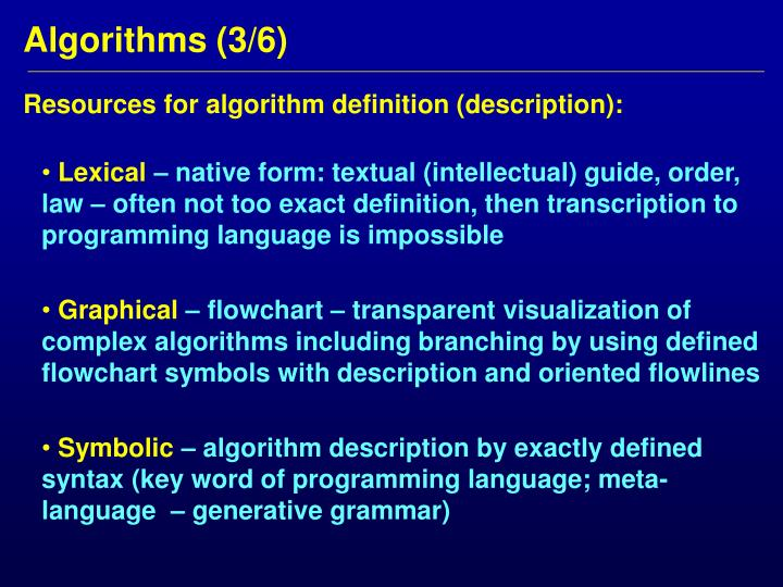Resources for algorithm definition (description):