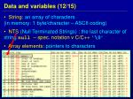 data and variables 1 2 15