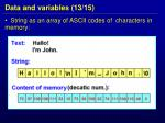 data and variables 13 15