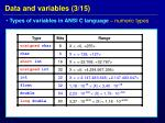 data and variables 3 15