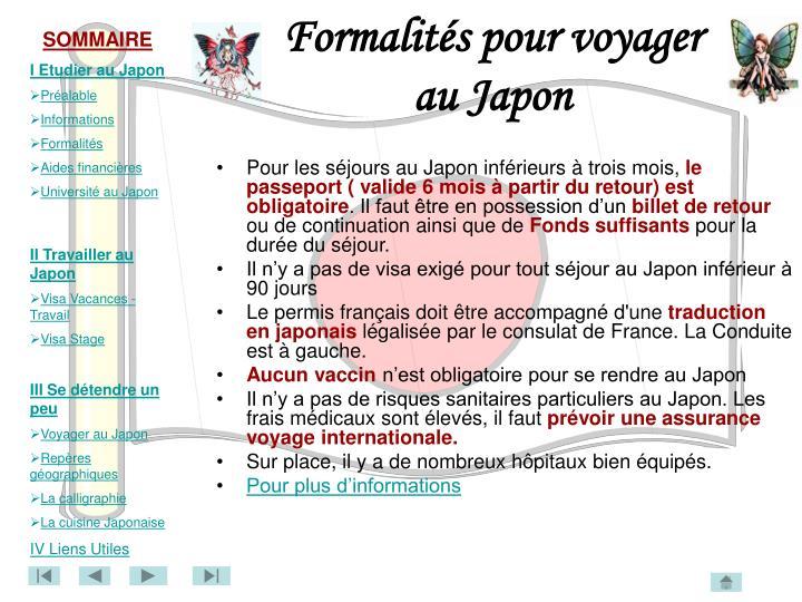 Formalités pour voyager au Japon