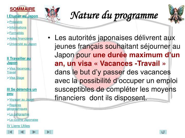 Nature du programme