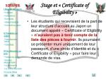 stage et certificate of eligibility