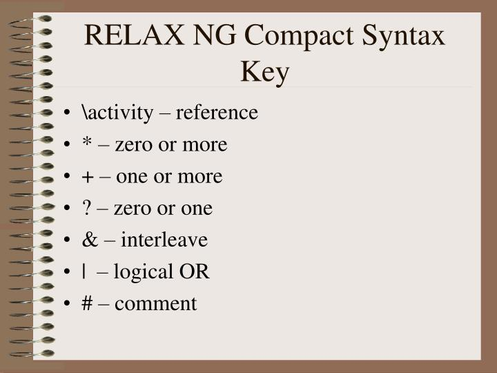 RELAX NG Compact Syntax Key