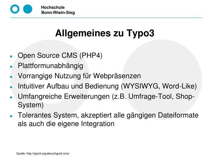 Allgemeines zu Typo3