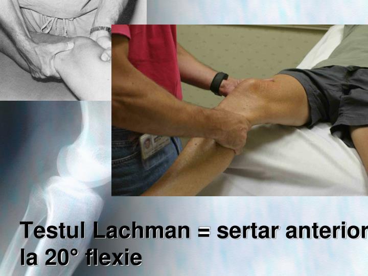 Testul Lachman = sertar anterior la 20