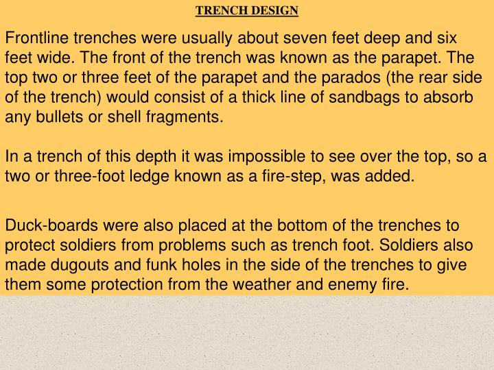 TRENCH DESIGN