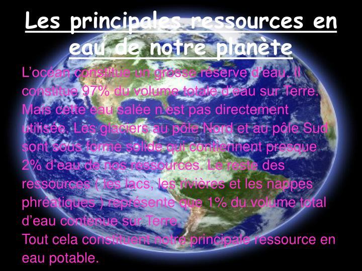 Les principales ressources en eau de notre planète