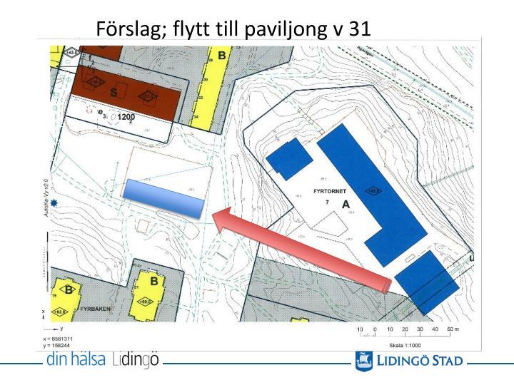 Förslag; flytt till paviljong v 31