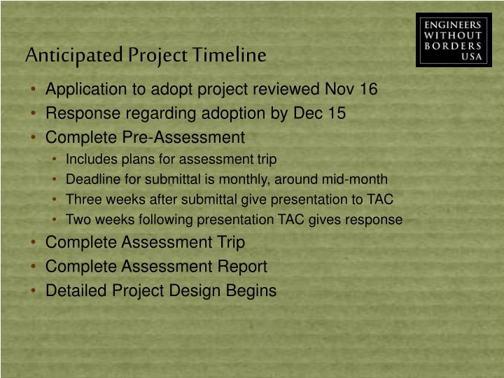 Anticipated Project Timeline
