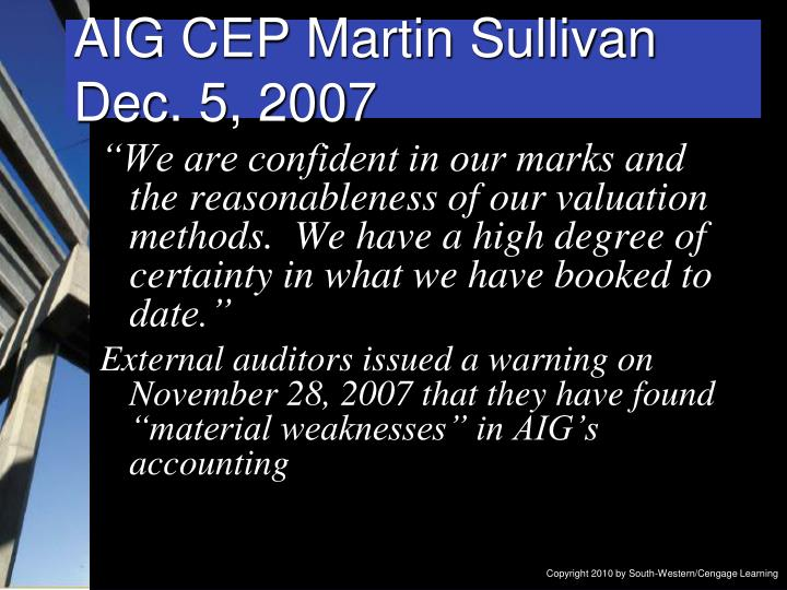 AIG CEP Martin Sullivan
