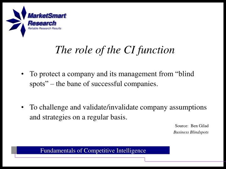 "To protect a company and its management from ""blind spots"" – the bane of successful companies."
