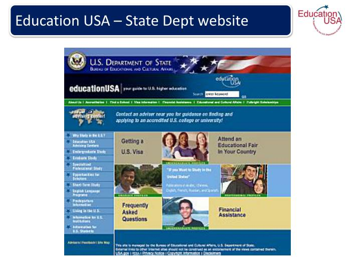 Education USA – State Dept website