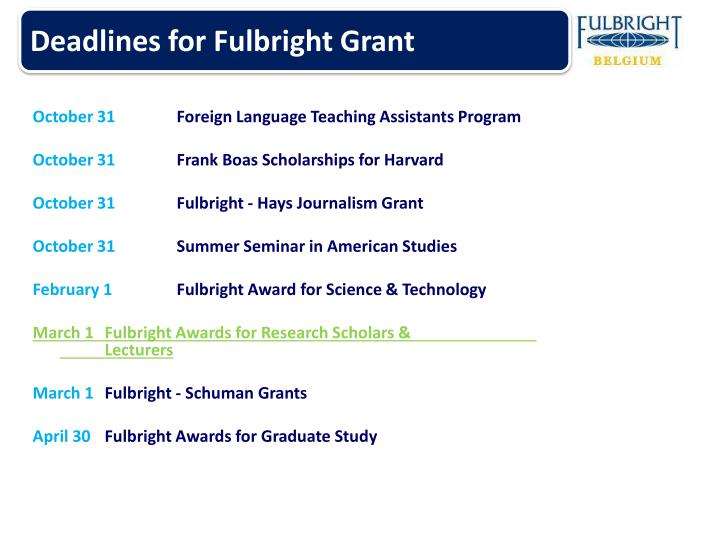 Deadlines for Fulbright Grant
