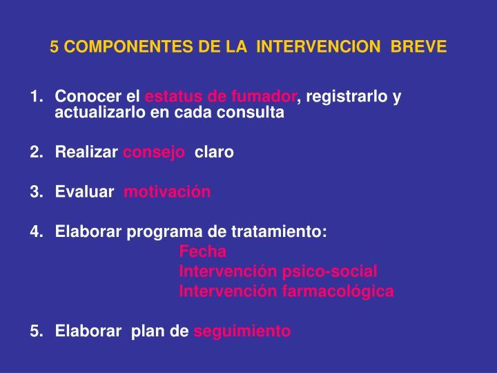 5 COMPONENTES DE LA  INTERVENCION  BREVE