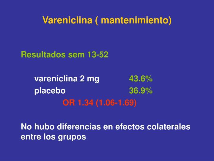 Vareniclina ( mantenimiento)