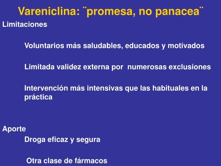 Vareniclina: ¨promesa, no panacea¨