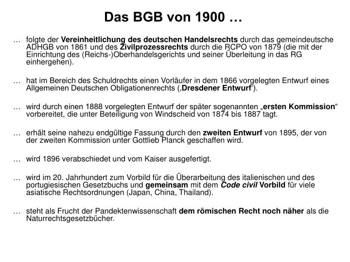 Das BGB von 1900 …