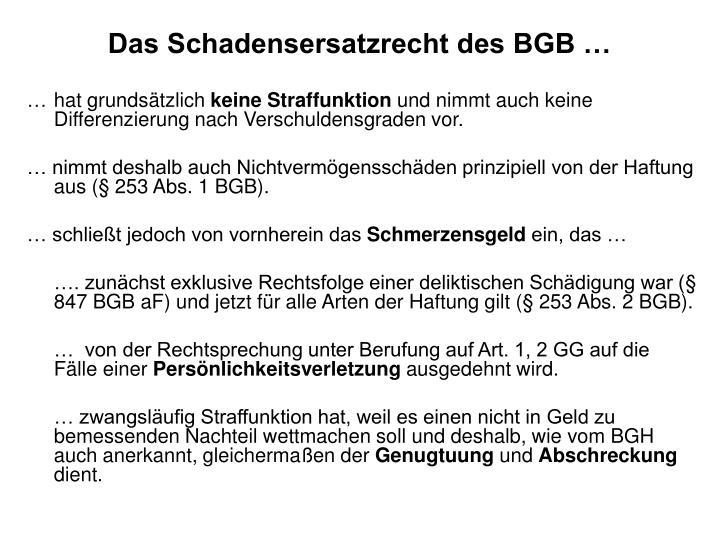 Das Schadensersatzrecht des BGB …