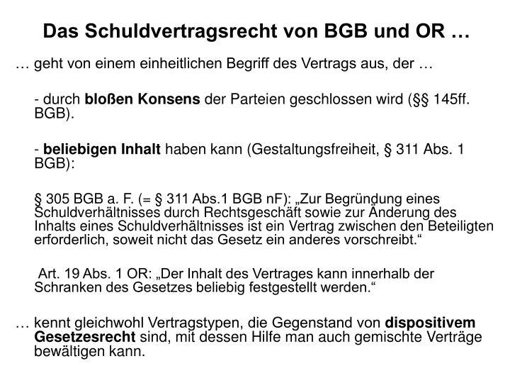 Das Schuldvertragsrecht von BGB und OR …