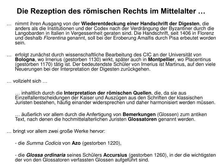 Die Rezeption des römischen Rechts im Mittelalter …