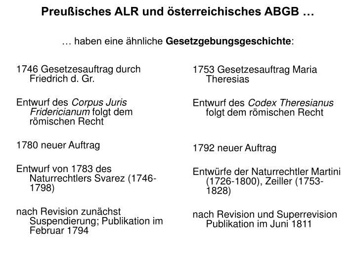 Preußisches ALR und österreichisches ABGB …