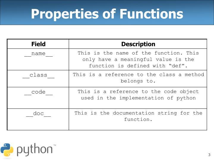 Properties of Functions