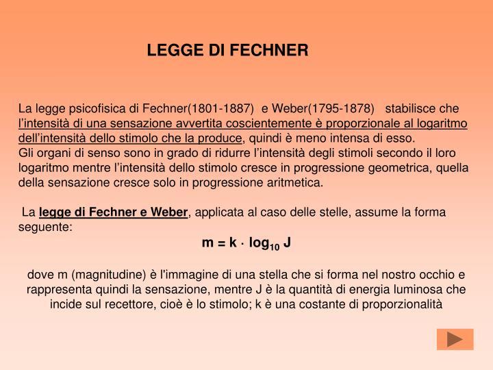 LEGGE DI FECHNER