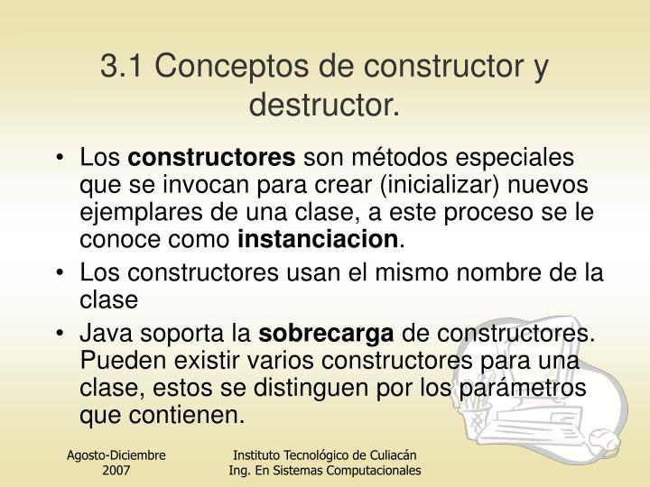3.1 Conceptos de constructor y