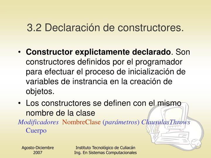 3.2 Declaración de constructor