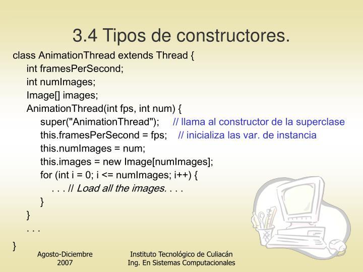 3.4 Tipos de constructores