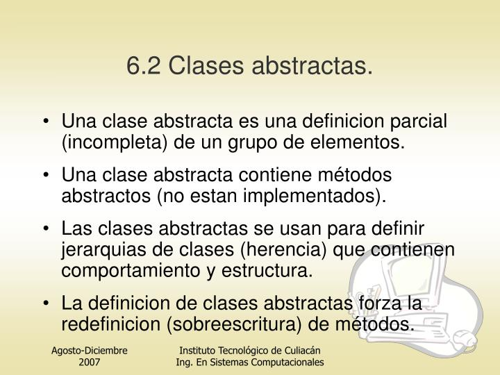 6.2 Clases abstractas.