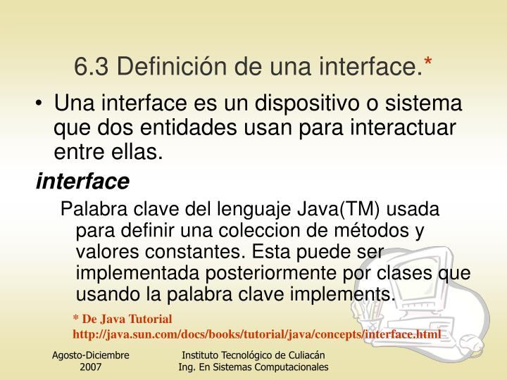 6.3 Definición de una interfa