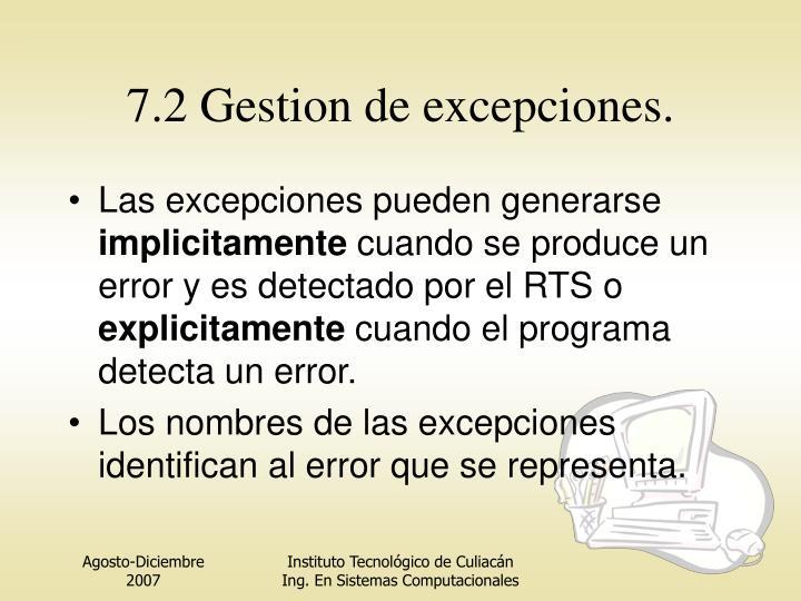 7.2 Gestion de excepciones.