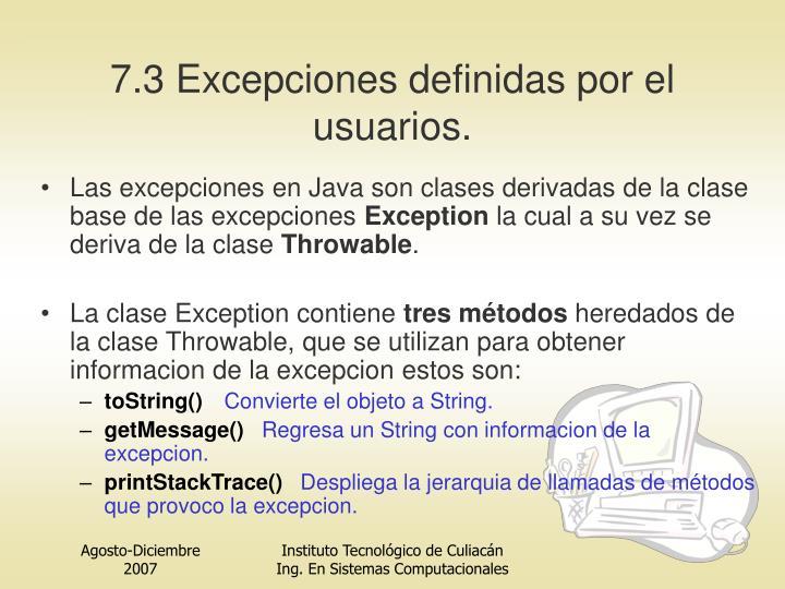 7.3 Excepciones definidas por el usuarios.