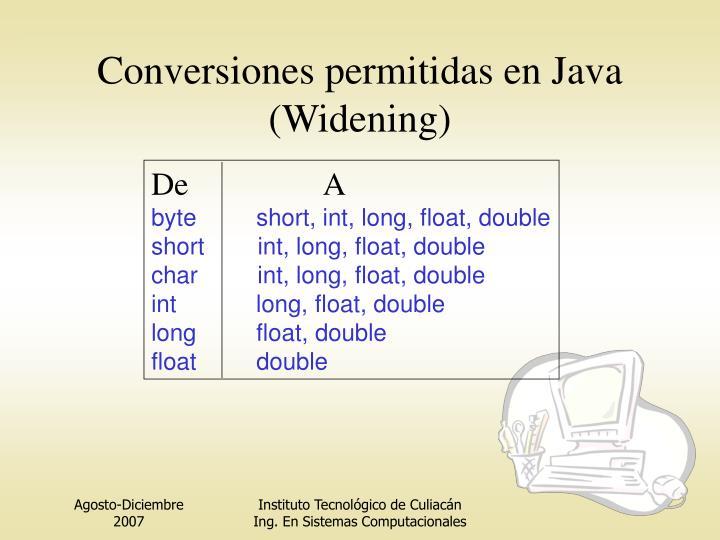 Conversiones permitidas en Java (Widening)