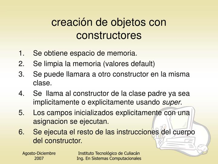creación de objetos con constructores