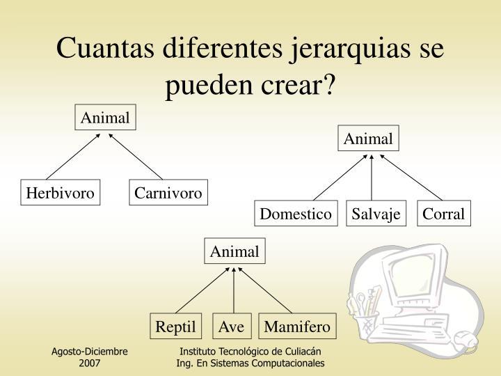 Cuantas diferentes jerarquias se pueden crear?