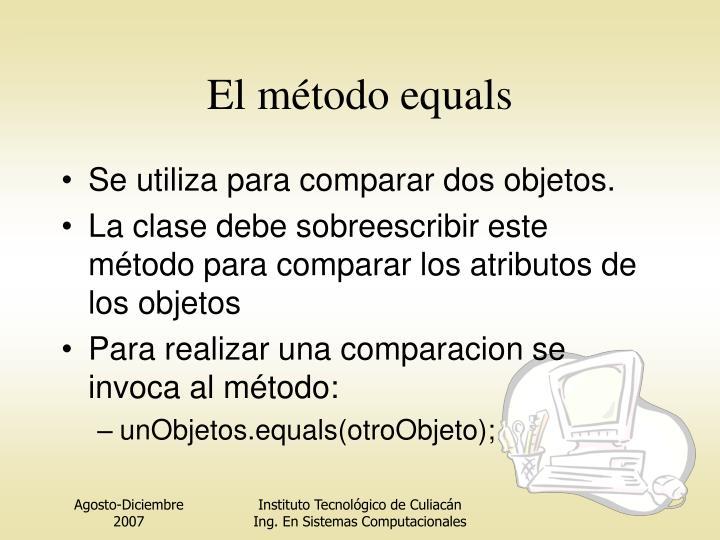 El método equals