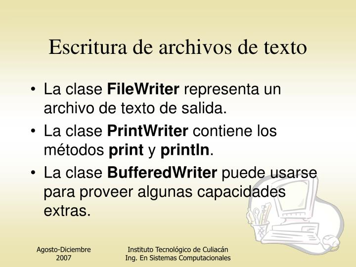 Escritura de archivos de texto