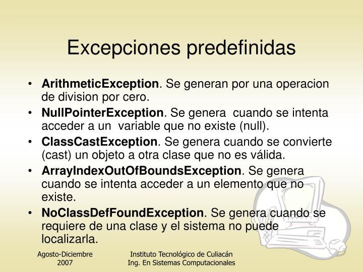 Excepciones predefinidas