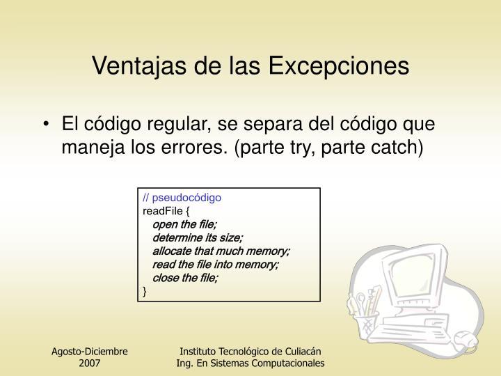 Ventajas de las Excepciones