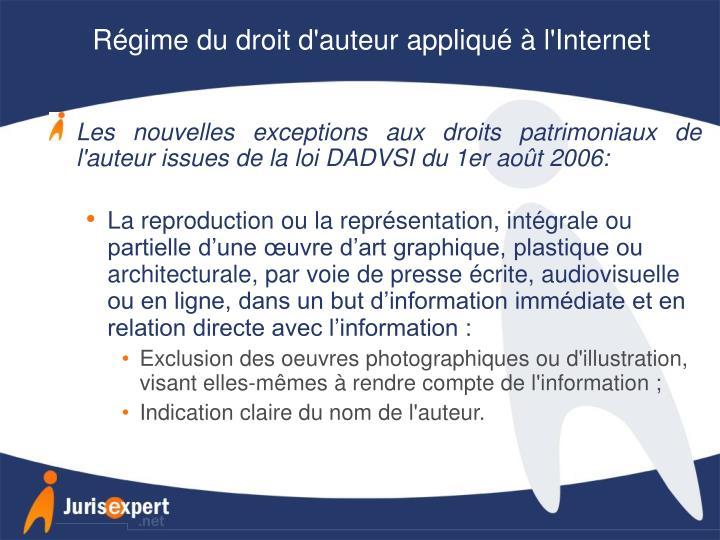 Régime du droit d'auteur appliqué à l'Internet