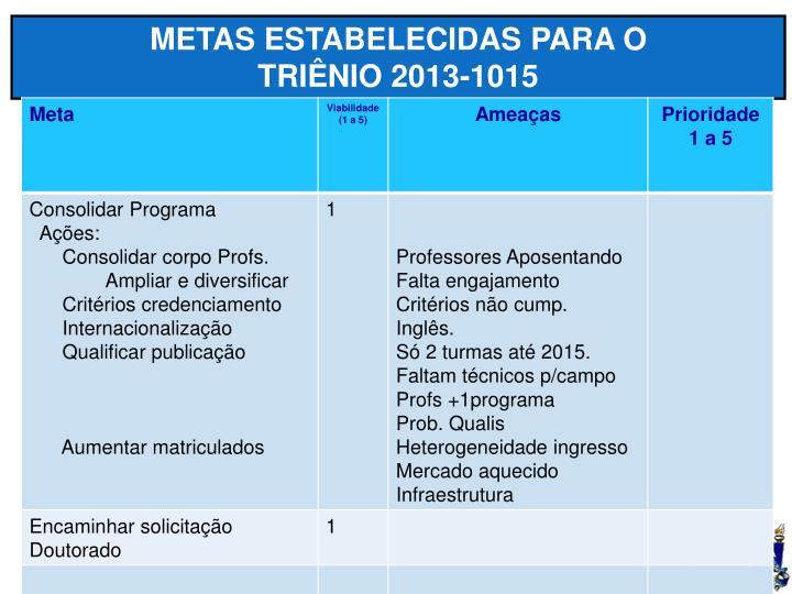 METAS ESTABELECIDAS PARA O